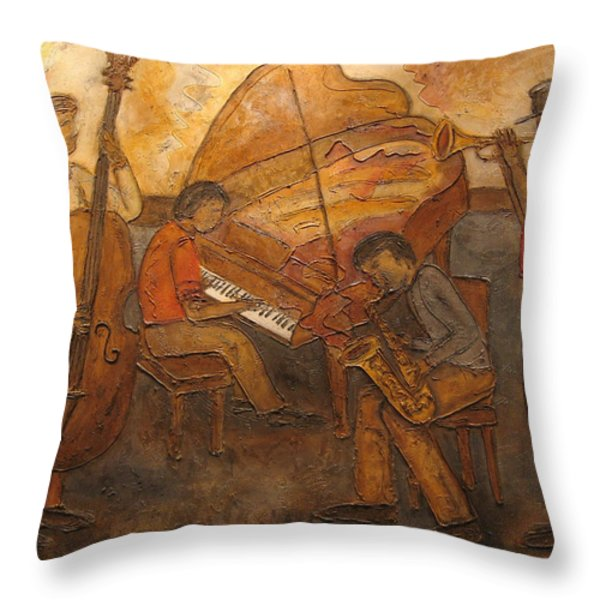 Jazz Quartet Throw Pillow by Anita Burgermeister