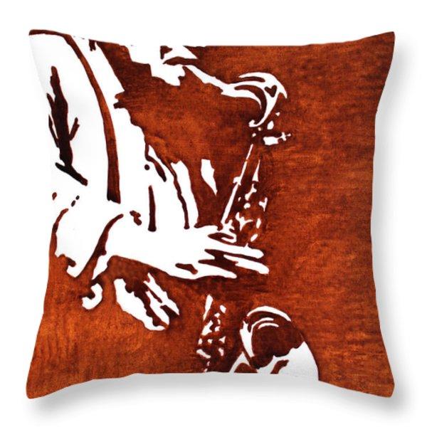 Jazz Saxofon Player Coffee Painting Throw Pillow by Georgeta  Blanaru