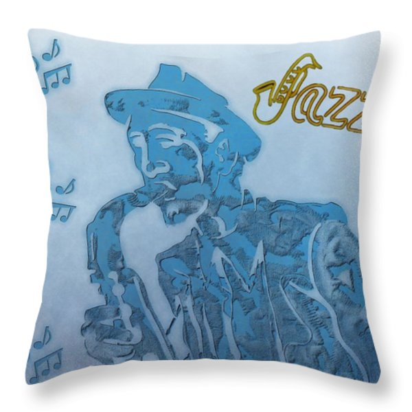 Jazz Saxophone Throw Pillow by Dan Sproul