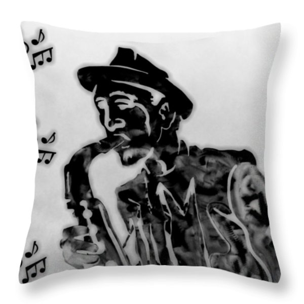 Jazz Saxophone Man Throw Pillow by Dan Sproul