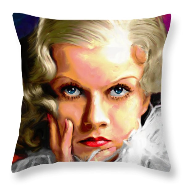 Jean Harlow Throw Pillow by Allen Glass