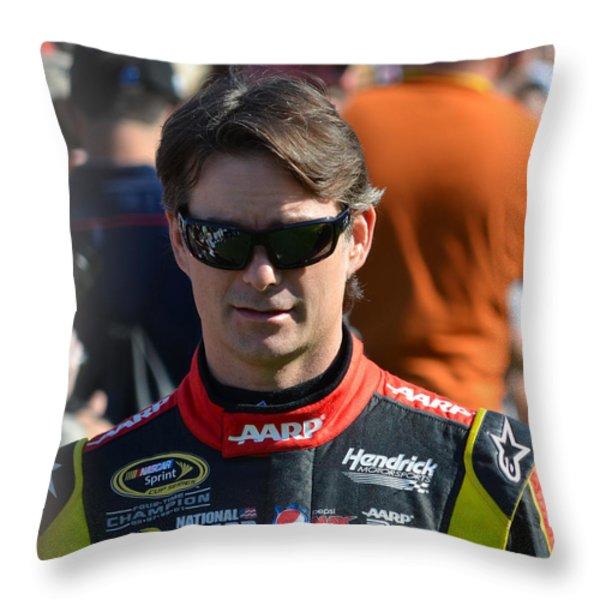 Jeff Gordon Throw Pillow by Mark Spearman