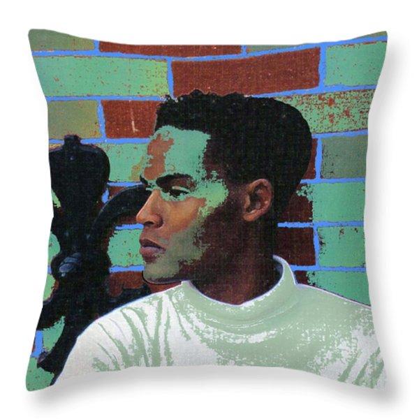 Jeffrey Burton Fisher 1989 Throw Pillow by Feile Case