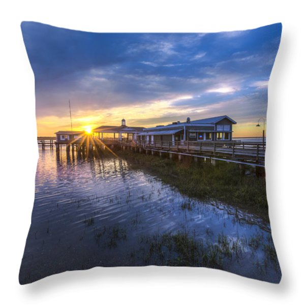 Jekyll Island Sunset Throw Pillow by Debra and Dave Vanderlaan