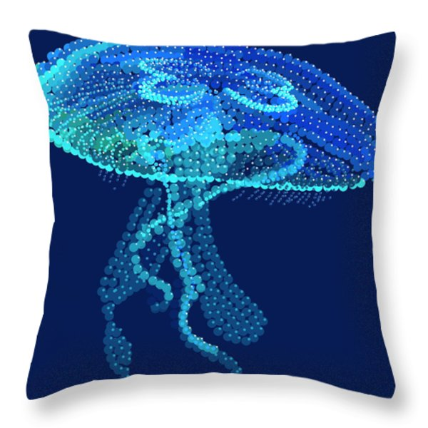 Jellyfish Bedazzled Throw Pillow by R  Allen Swezey