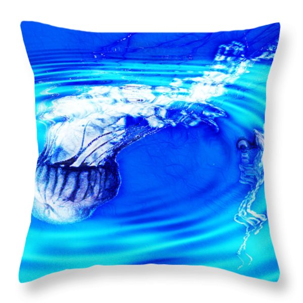 Jellyfish Pool Throw Pillow by Methune Hively