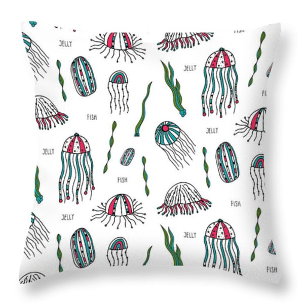 Jellyfish Repeat Print Throw Pillow by Susan Claire