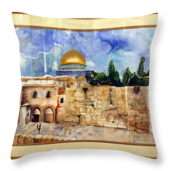 Jerusalem Cradle Of Civilization Throw Pillow by Rachel Alhadeff