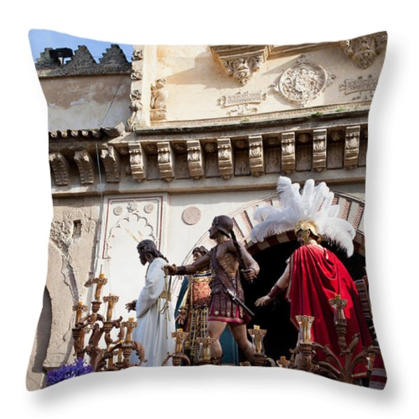 Jesus Christ and Roman Soldiers on Procession Platform Throw Pillow by Artur Bogacki