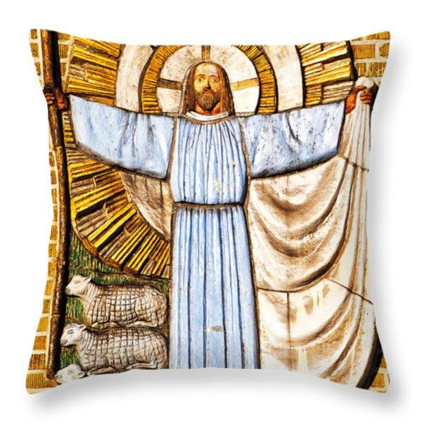 Jesus Christ the Shepherd Throw Pillow by Antony McAulay