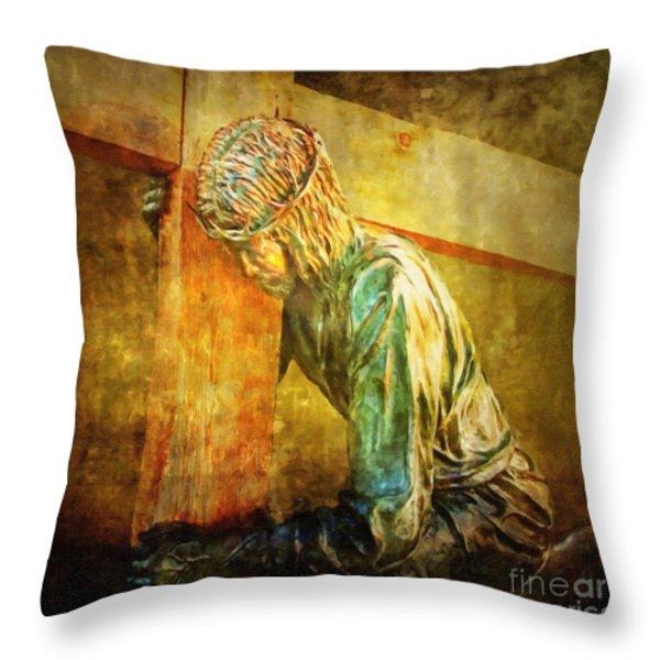 Jesus Falls Via Dolorosa 3 Throw Pillow by Lianne Schneider