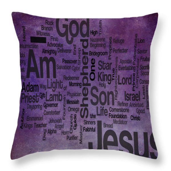 Jesus Name 2 Throw Pillow by Angelina Vick
