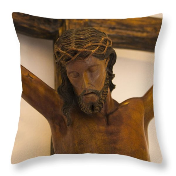 Jesus On The Cross Throw Pillow by Al Bourassa