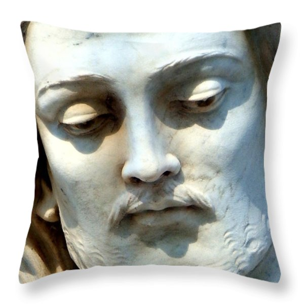 Jesus Statue Throw Pillow by David G Paul