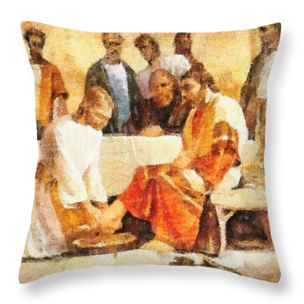 Jesus Washing Apostle's Feet Throw Pillow by Dan Sproul