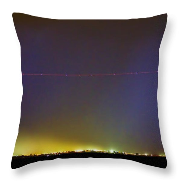 Jet Over Colorful City Lights and Lightning Strike Panorama Throw Pillow by James BO  Insogna