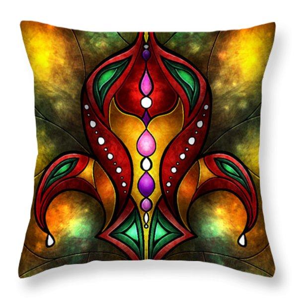 Jeweled Fleur De Lis Throw Pillow by Mandie Manzano