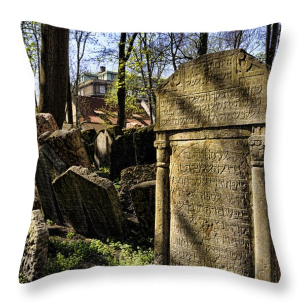Jewish Cemetery Throw Pillow by Brenda Kean