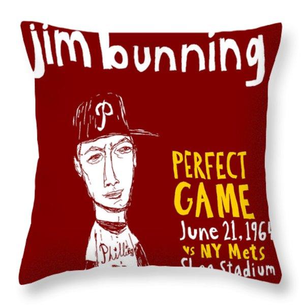 Jim Bunning Philadelphia Phillies Throw Pillow by Jay Perkins
