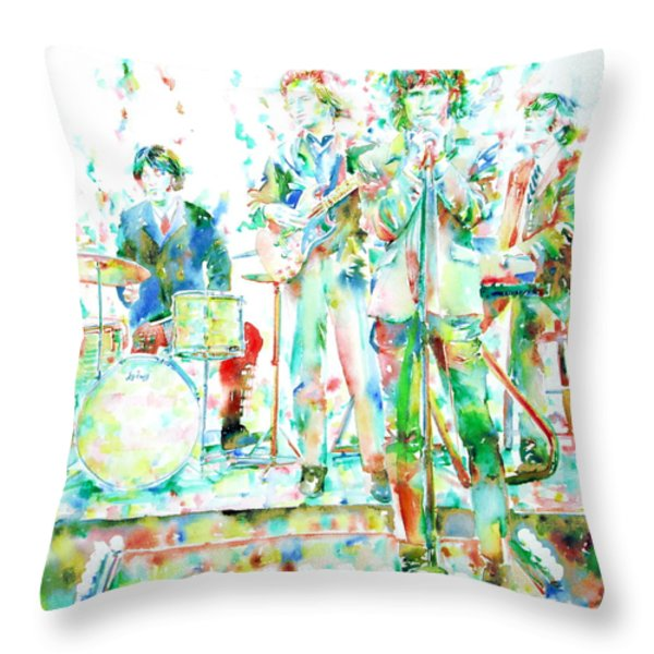 Jim Morrison And The Doors Live On Stage- Watercolor Portrait Throw Pillow by Fabrizio Cassetta