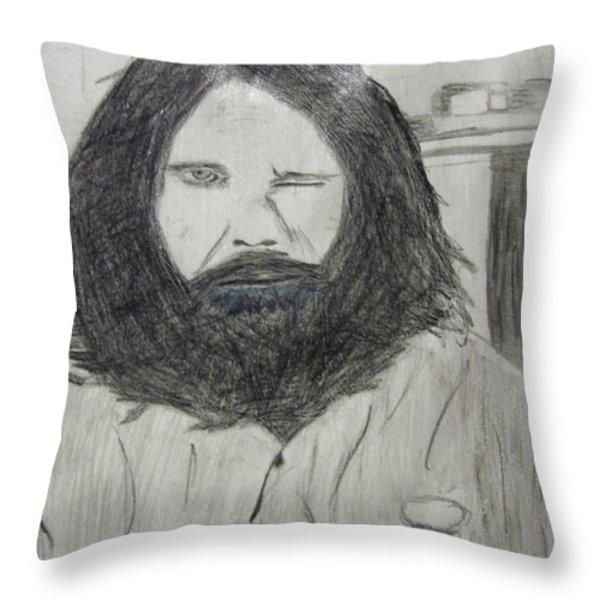 Jim Morrison Pencil Throw Pillow by Jimi Bush