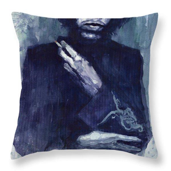 Jimi Hendrix 01 Throw Pillow by Yuriy  Shevchuk