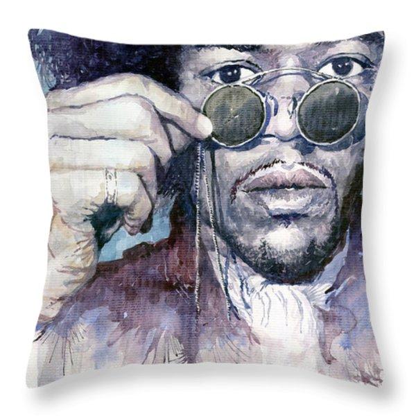 Jimi Hendrix 08 Throw Pillow by Yuriy  Shevchuk