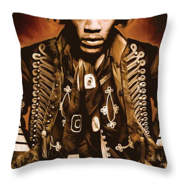 Jimi Hendrix Artwork Throw Pillow by Sheraz A