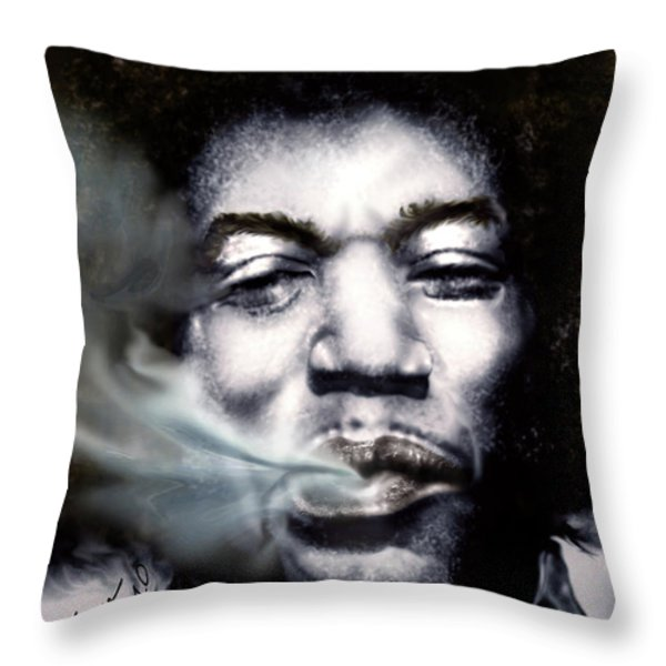 Jimi Hendrix-Burning Lights-2 Throw Pillow by Reggie Duffie