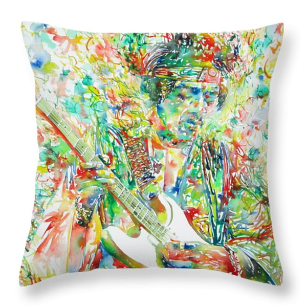 JIMI HENDRIX PLAYING THE GUITAR PORTRAIT.1 Throw Pillow by Fabrizio Cassetta