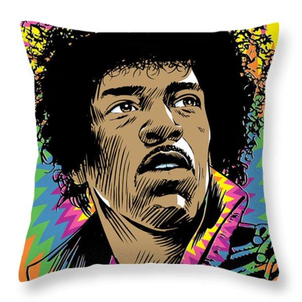Jimi Hendrix Pop Art Throw Pillow by Jim Zahniser