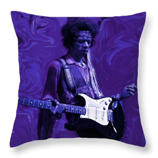 Jimi Hendrix Purple Haze Throw Pillow by David Dehner