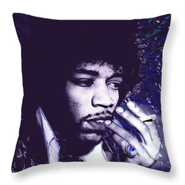 Jimi Hendrix Purple Haze  Throw Pillow by Tony Rubino