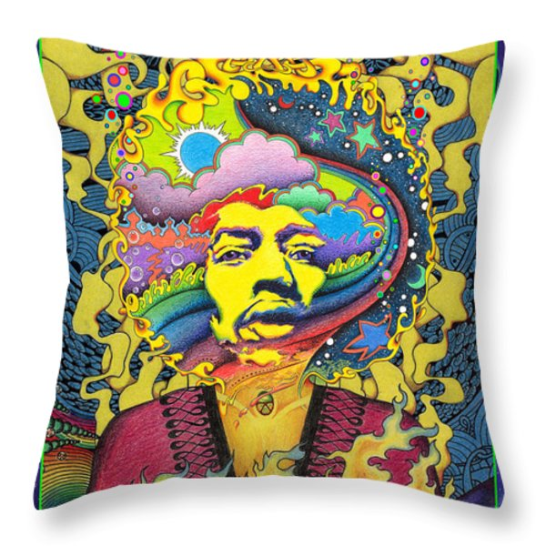 Jimi Hendrix Rainbow King Throw Pillow by Jeff Hopp