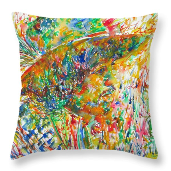 Jimi Hendrix With Hat Watercolor Portrait Throw Pillow by Fabrizio Cassetta