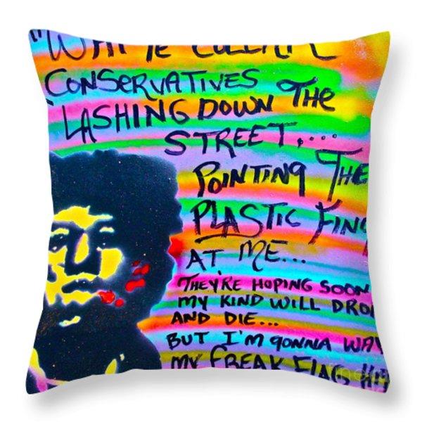 Jimi's Freak Flag Throw Pillow by Tony B Conscious