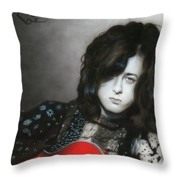 'Jimmy Page' Throw Pillow by Christian Chapman Art