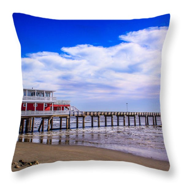 Jimmy's Pier Throw Pillow by Perry Webster