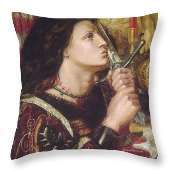 Joan Of Arc Kisses The Sword Of Liberation Throw Pillow by Philip Ralley