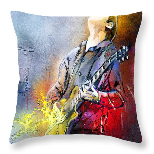 Joe Bonamassa 02 Throw Pillow by Miki De Goodaboom