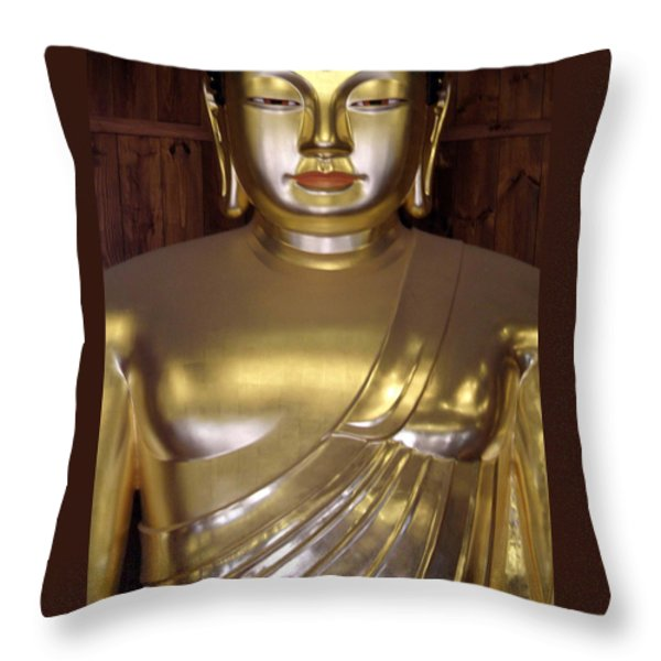Jogyesa Buddha Throw Pillow by Jean Hall