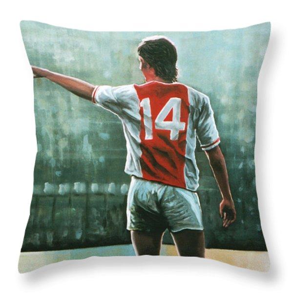 Johan Cruijff Nr 14 Throw Pillow by Paul Meijering