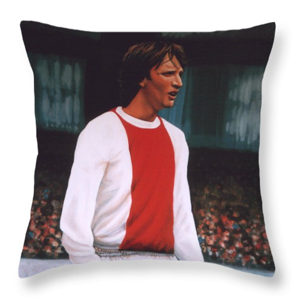 Johan Cruijff Throw Pillow by Paul Meijering
