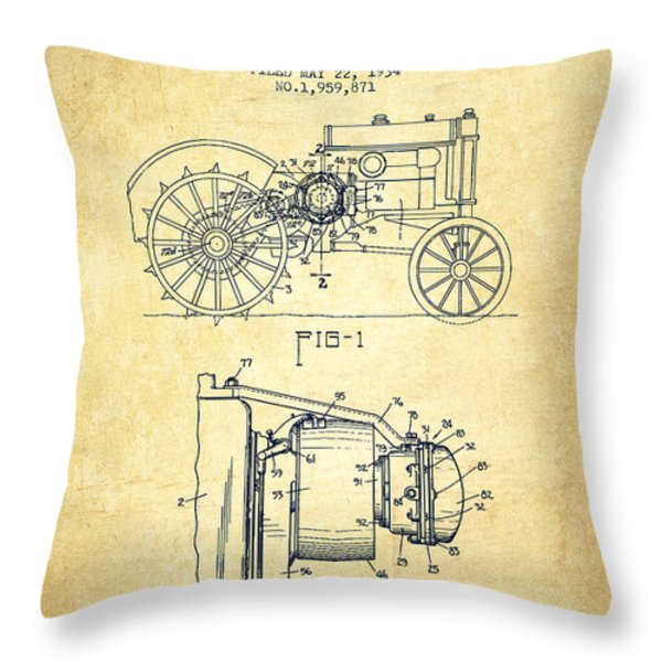 John Deer Tractor Patent drawing from 1934 - Vintage Throw Pillow by Aged Pixel
