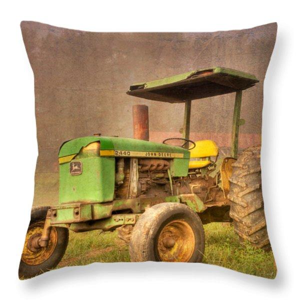 John Deere 2440 Throw Pillow by Debra and Dave Vanderlaan