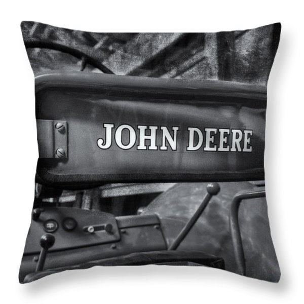 John Deere Tractor BW Throw Pillow by Susan Candelario