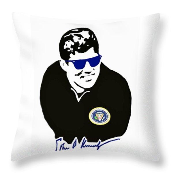 John F Kennedy Signature Wayfarer Throw Pillow by Jost Houk