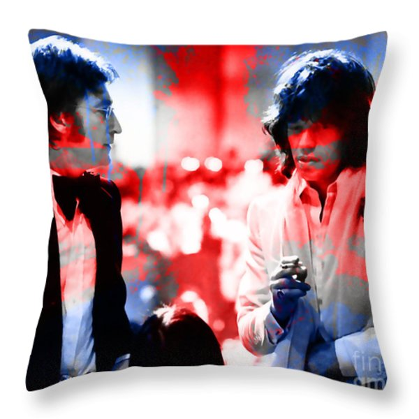 John Lennon And Mick Jagger Painting Throw Pillow by Marvin Blaine