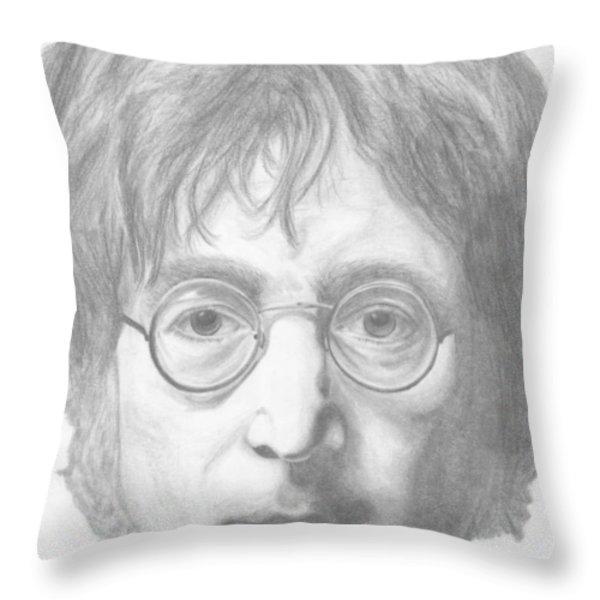 John Lennon Throw Pillow by Olivia Schiermeyer