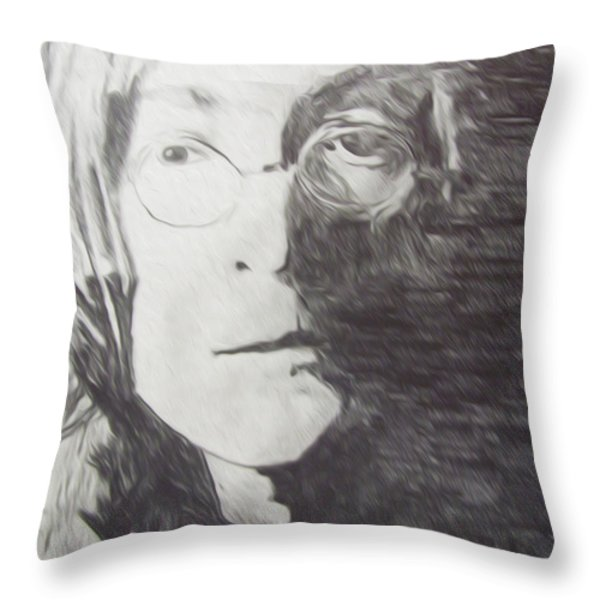 John Lennon Pencil Throw Pillow by Jimi Bush